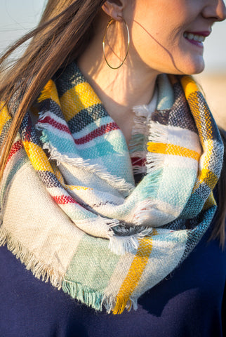 Green & Mustard Infinity Scarf