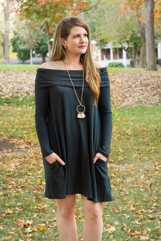 Teal Off Shoulder Jersey Dress