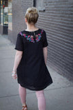 Floral Embroidery A-Line Dress