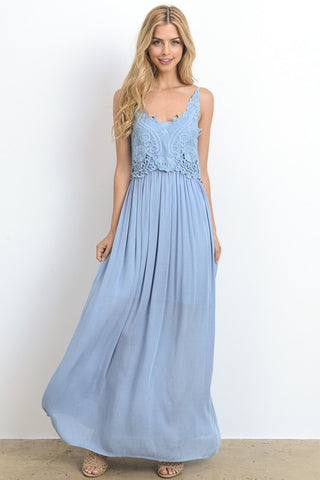 Embroidered Crochet Maxi