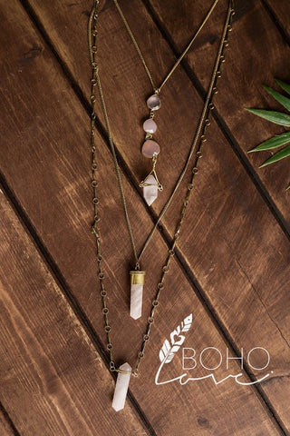 Layered Quartz Stone Necklace