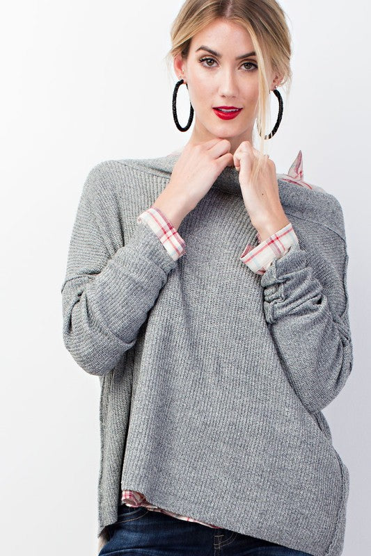 Heather Knit Off Shoulder Sweater