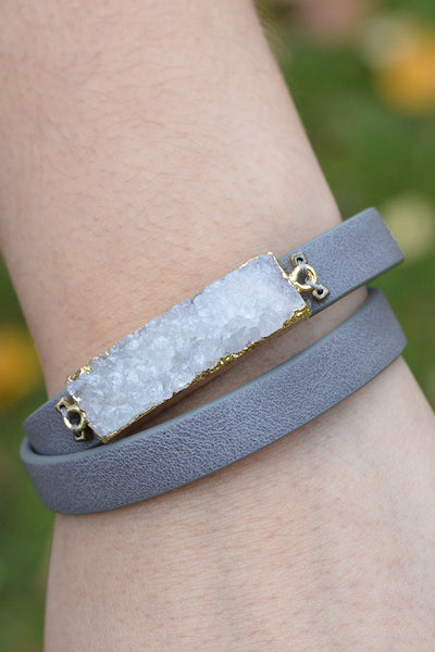 Grey Double Wrap Bracelet