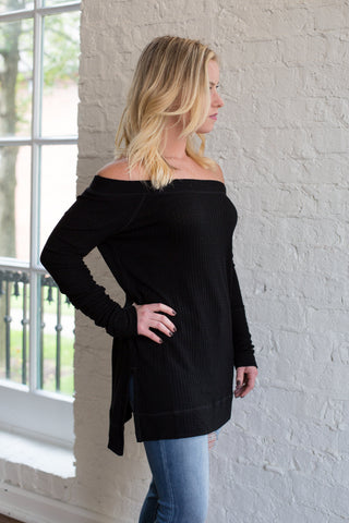 Long Sleeve Boat Neck Top with Side Slit