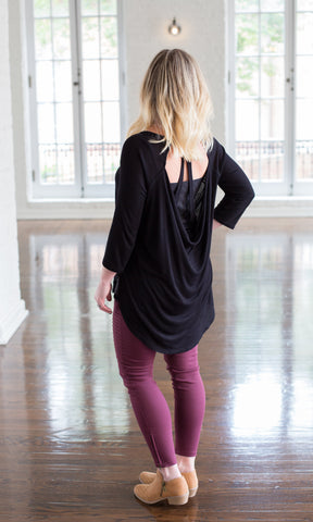 Rib Draped Top ~ Black