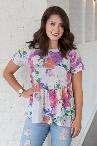 Mint of Florals Tunic Top