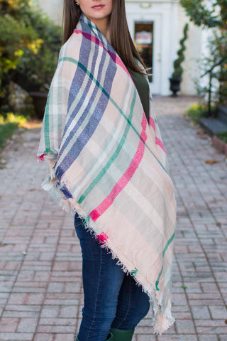 Pink for Plaid Blanket Scarf