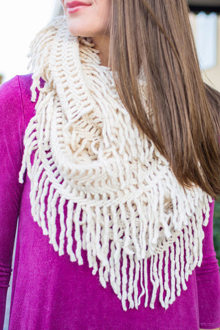 Lattice Tassel Infinity Scarf Ivory