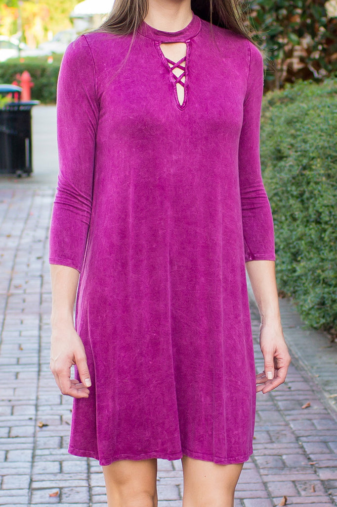 Magenta Mock Neck Tie Dye Dress