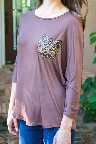 Mocha Sequins Pocket Top