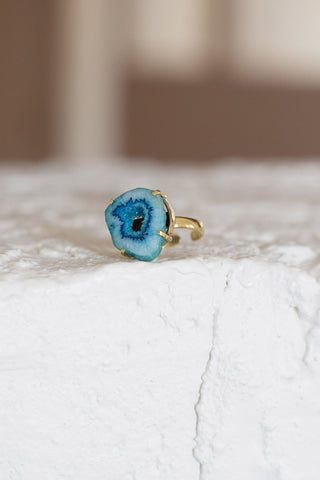 Blue Agate Stone Ring