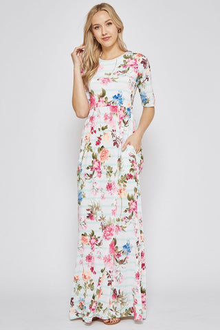 Mint Striped Floral Maxi Dress