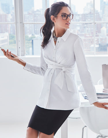 a3a94e38d10 A pencil skirt or tube skirt is a wardrobe essential. Seraphine has a  really smart collection of maternity work clothes. We just love this shirt  and pencil ...
