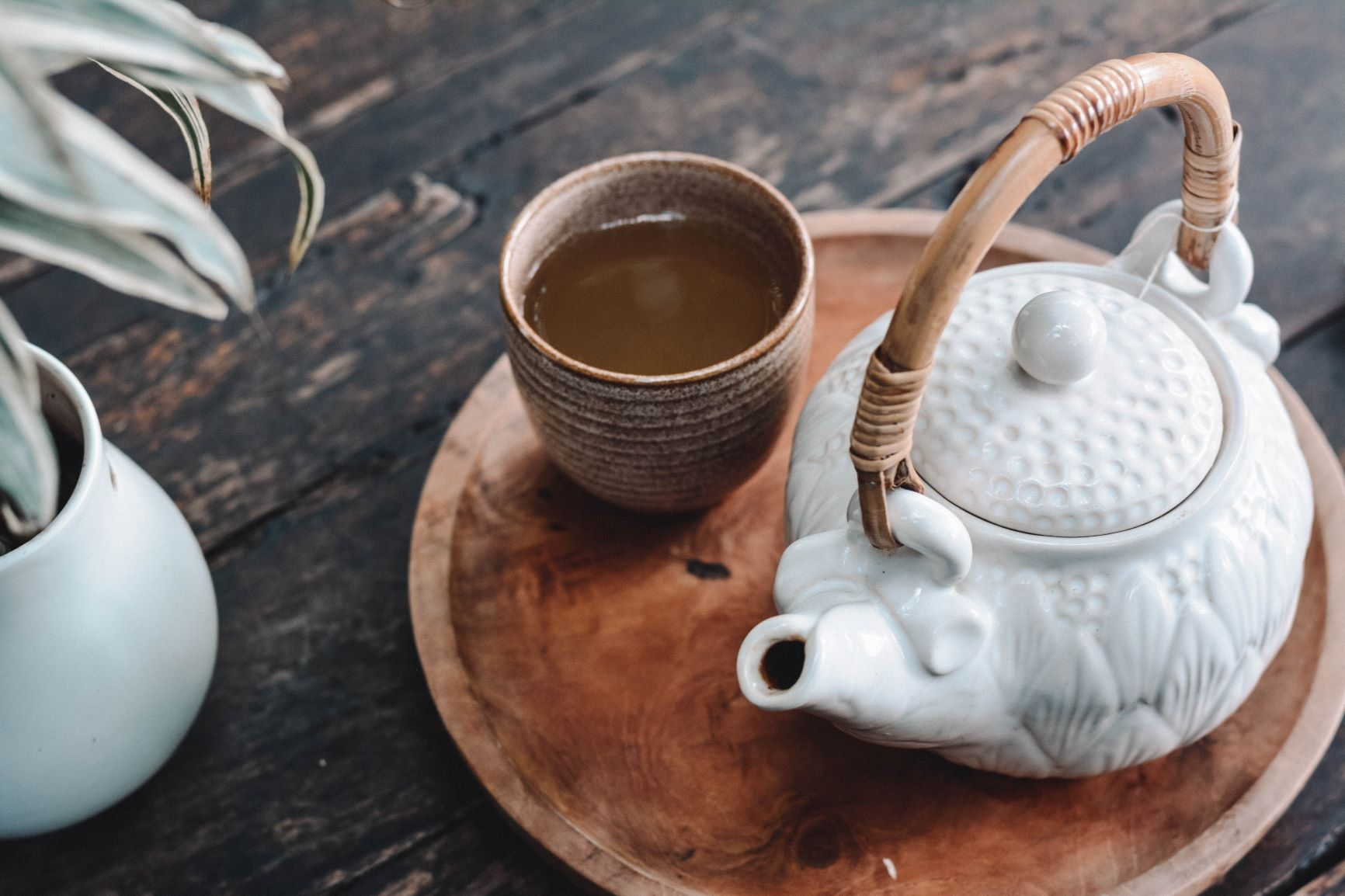 Tea with white ceramic pot