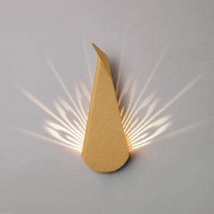 Cardboard Peacock LED light fixture