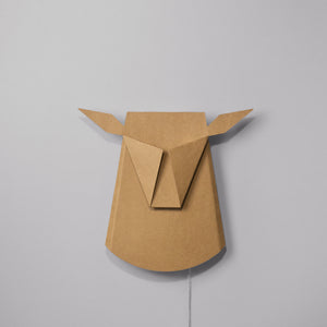 Cardboard Deer Head LED light fixture