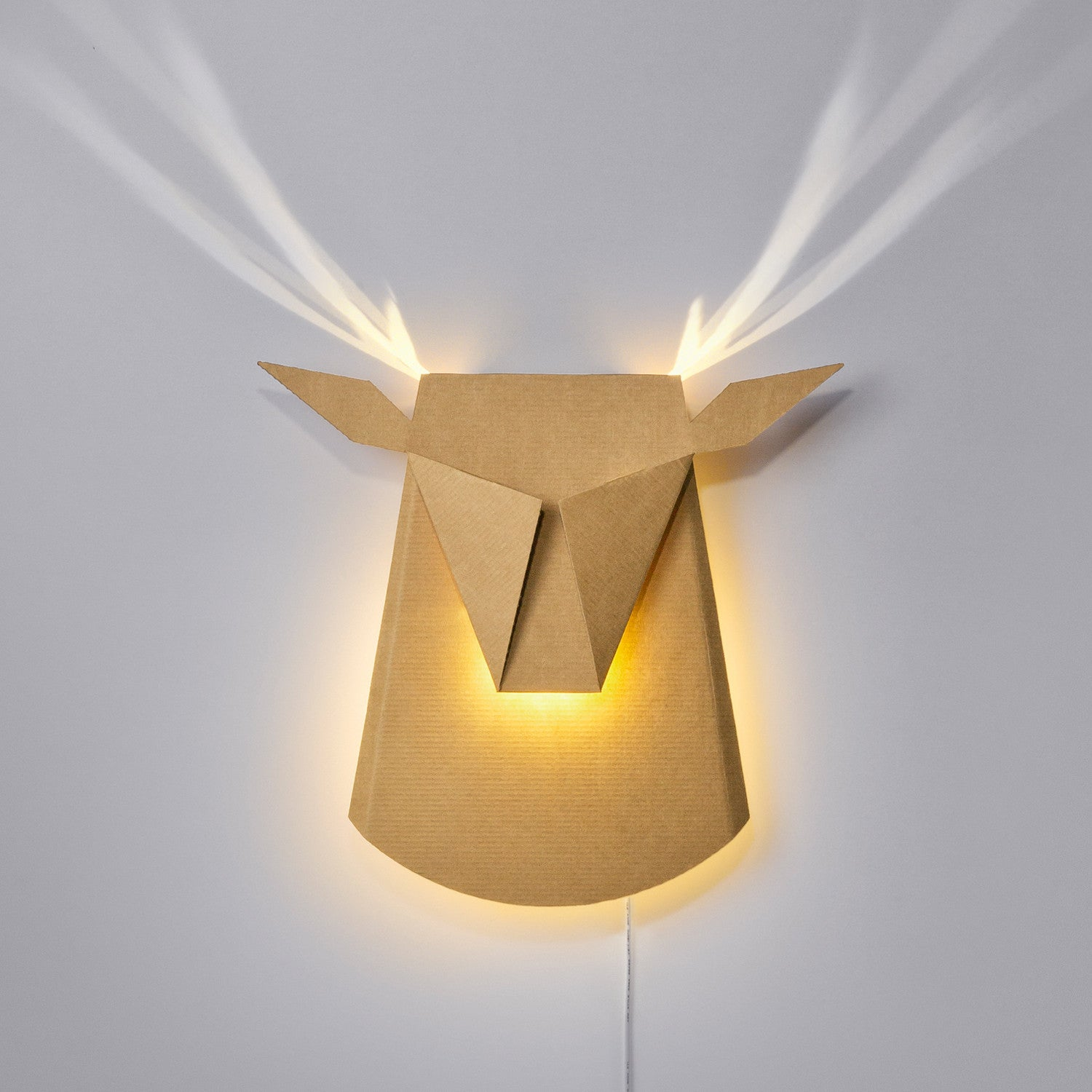Deer Head An Elegant Cardboard Wall Led Light Fixture