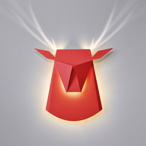 Red Aluminum Deer Head LED light fixture