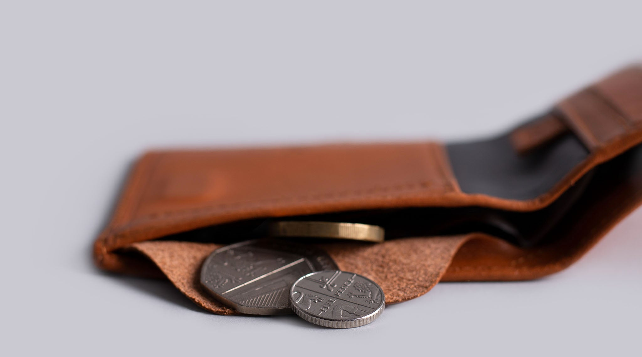 leather wallet with coins pocket