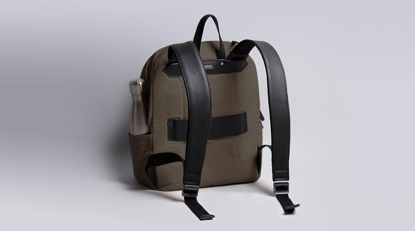 Fabric and leather Backpack