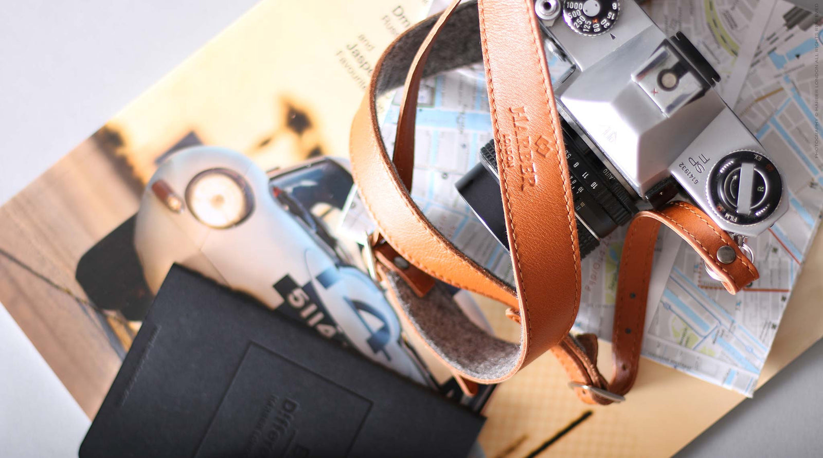 Adjustable Leather & Felt Camera Strap for DSLR Cameras, Nikon, Leica, Pentax, SLR. Harber London. Minimalist DSLR Strap