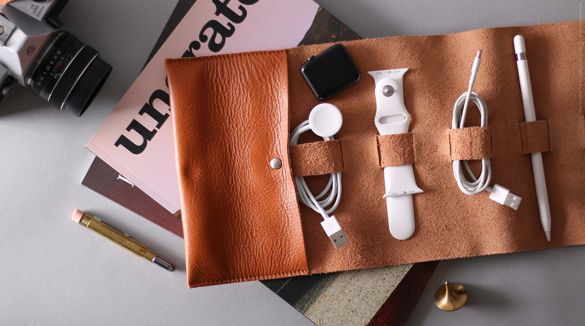 leather cable organiser