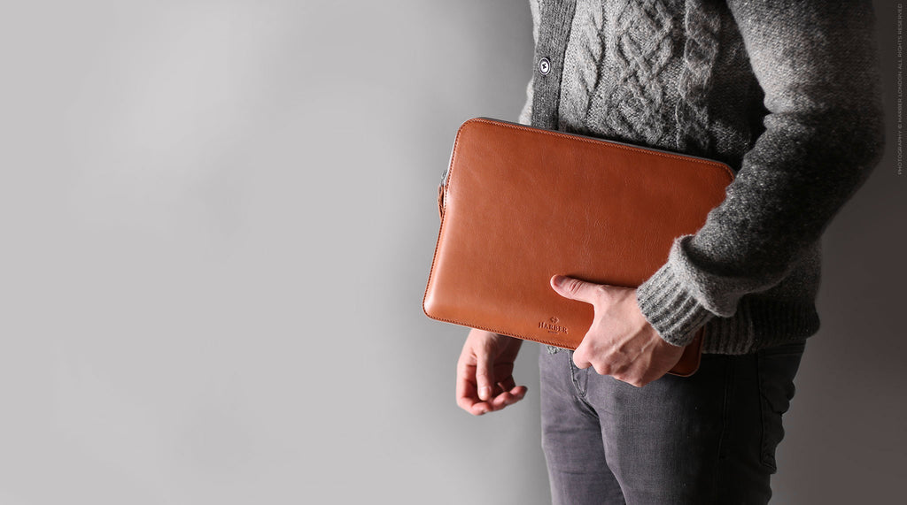 Harber London - Slim Leather Folio Laptop Case No.7