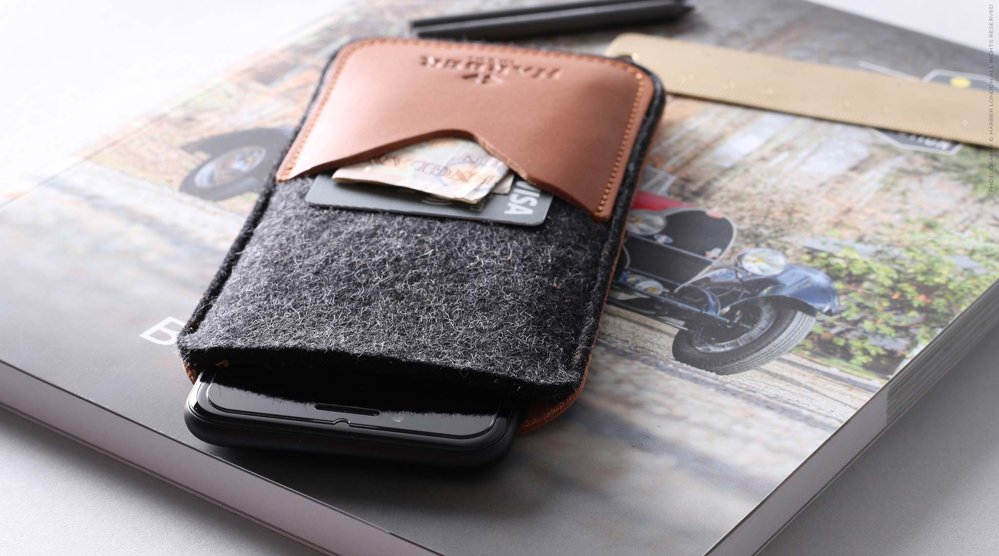 leather and felt phone sleeve
