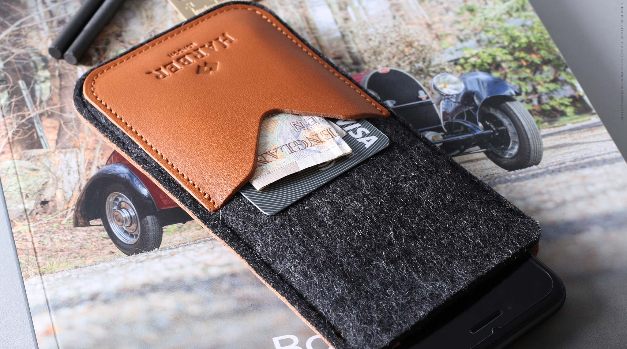 leather and felt iPhone sleeve