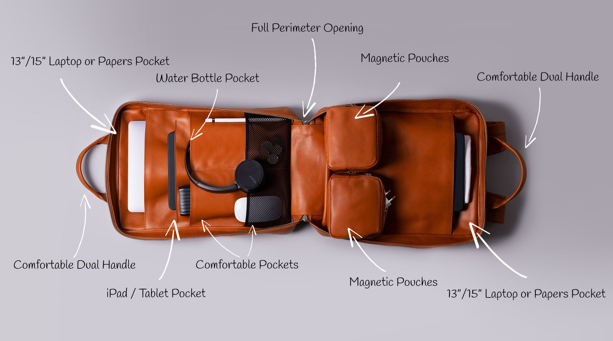 Leather modular backpack for laptop