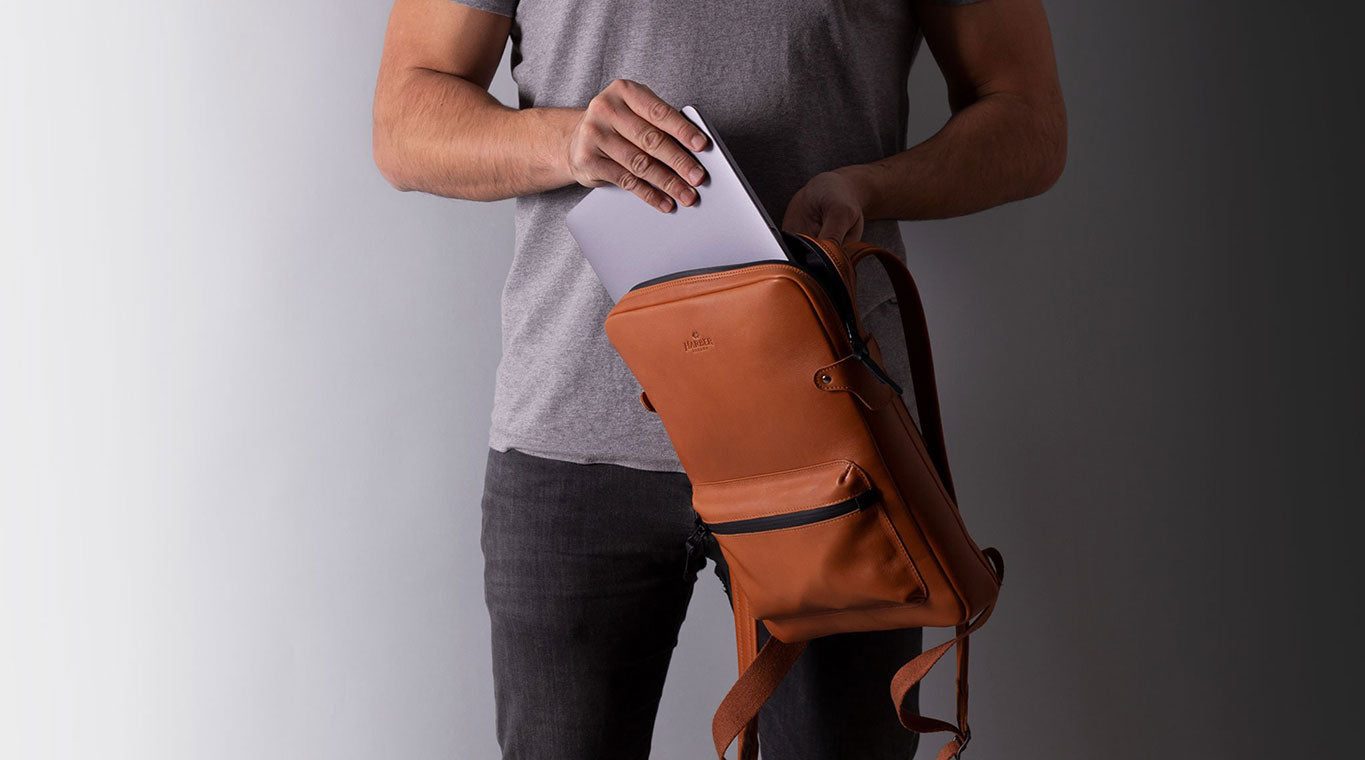 slim leather backpack