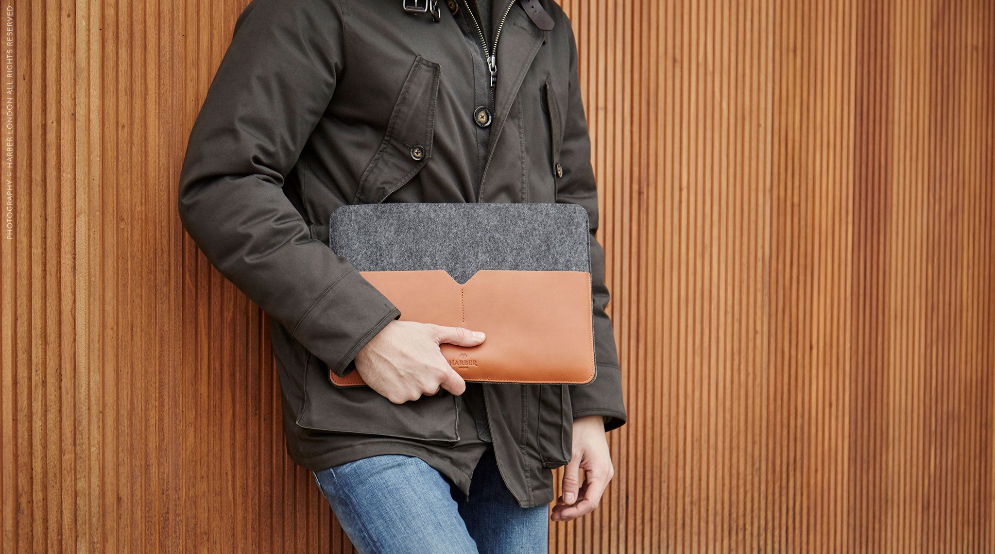 Harber London Classic Leather MacBook Cover Sleeve model
