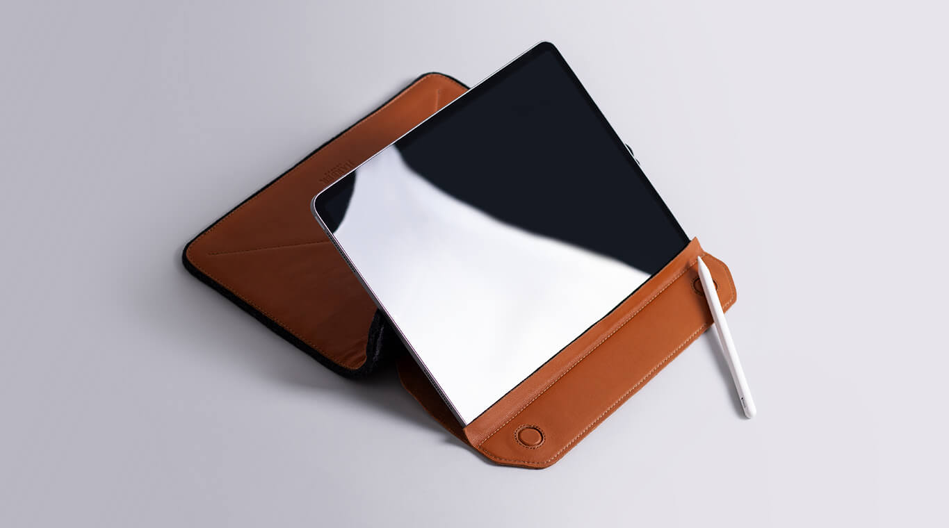 Leather iPad Sleeve with stand
