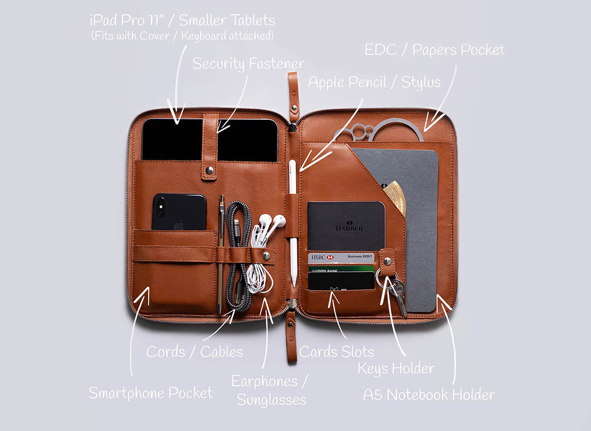leather organiser for work and travel