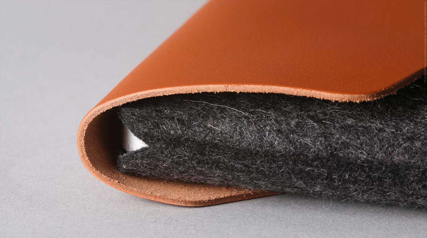leather and felt macbook envelope
