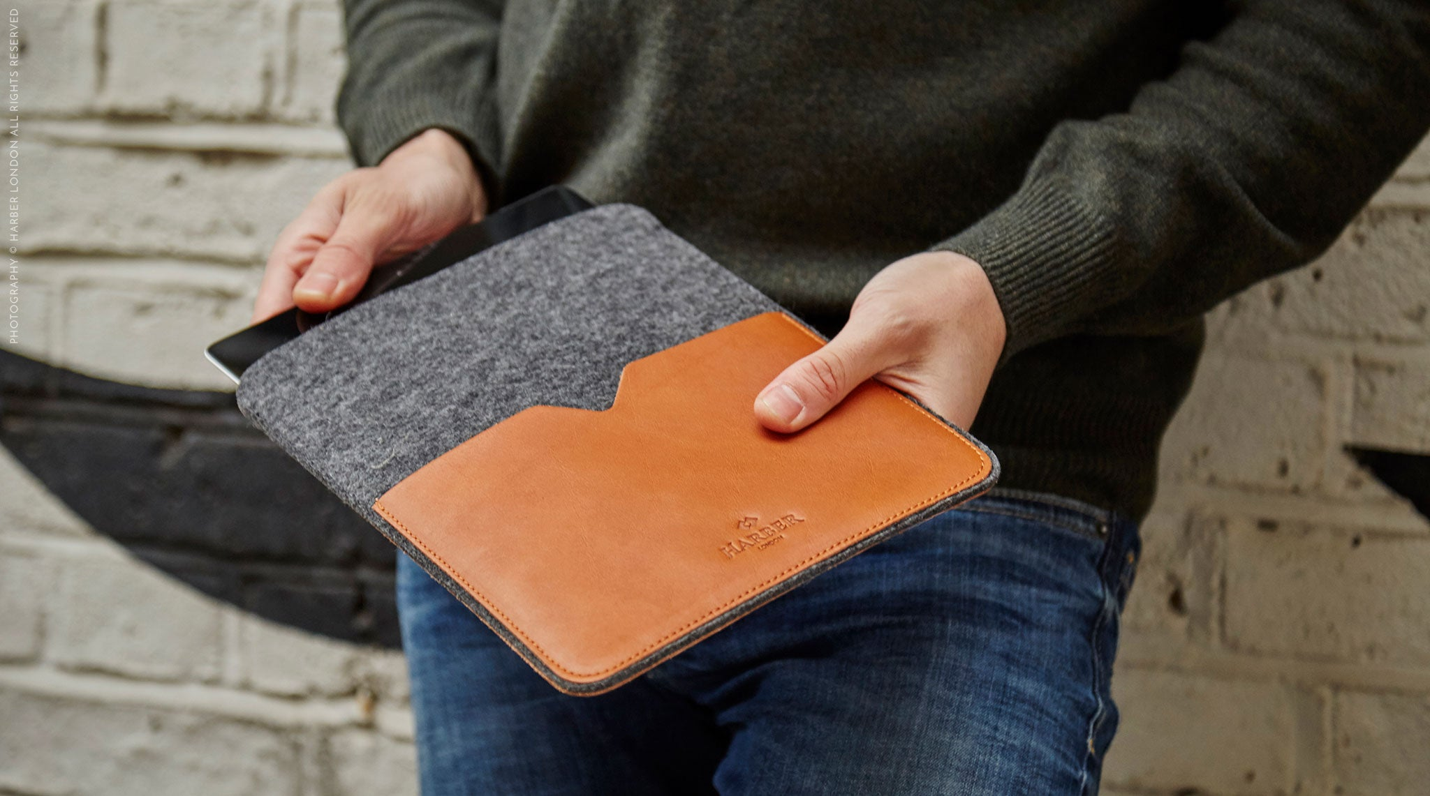 Harber London Classic Leather iPad Cover Sleeve model