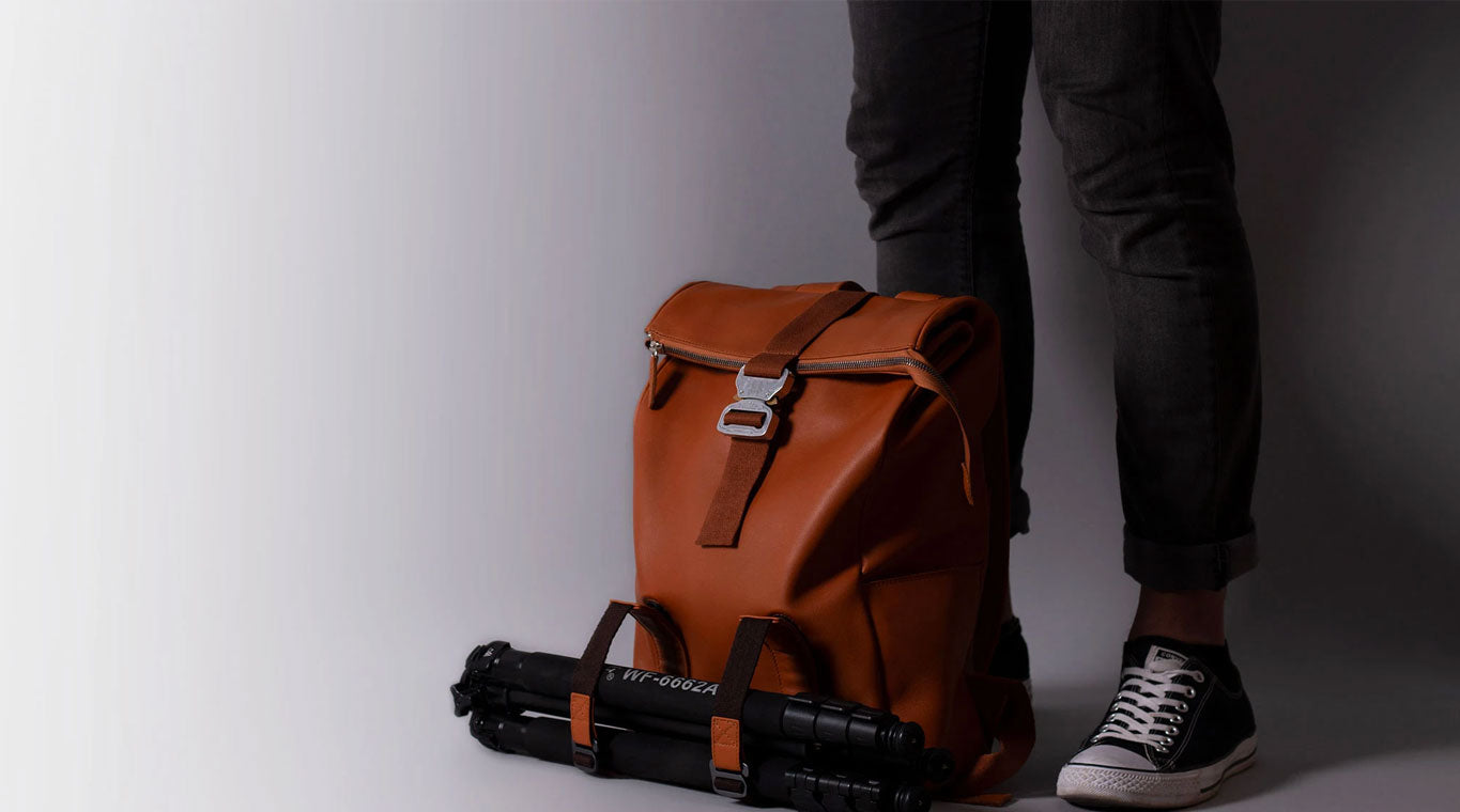 leather roll backpack