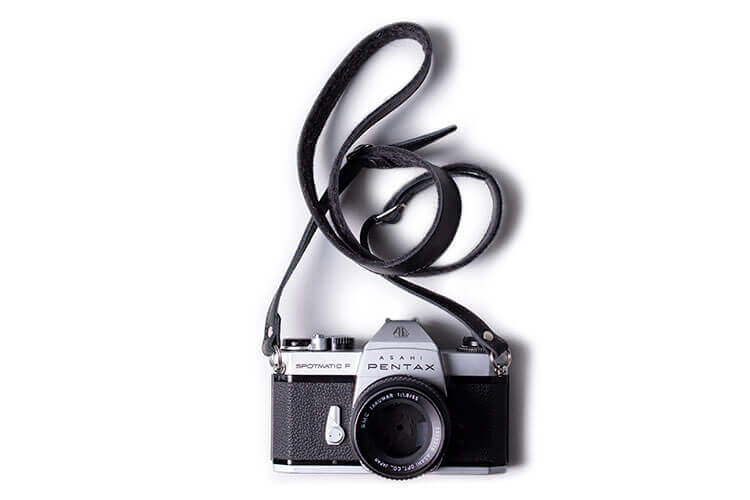 Black Adjustable Leather Camera Strap