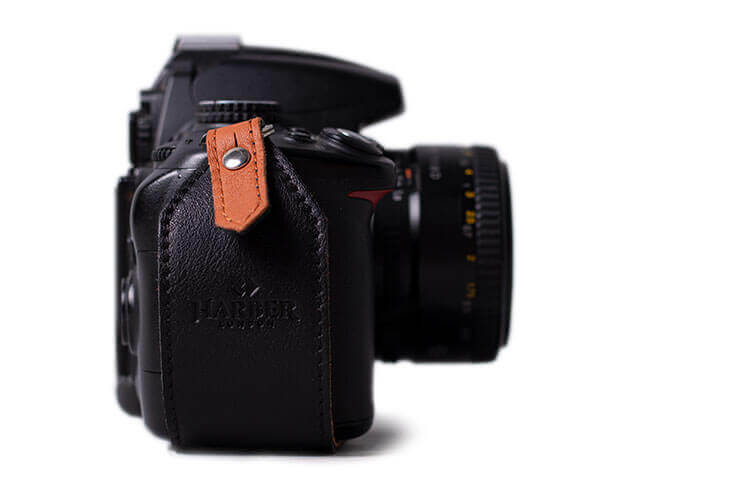 Black Leather Camera Clutch Strap
