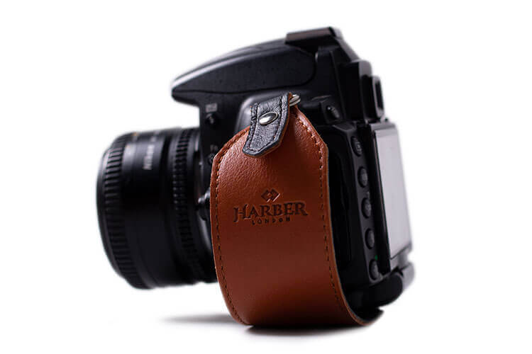 Tan Leather Camera Clutch Strap