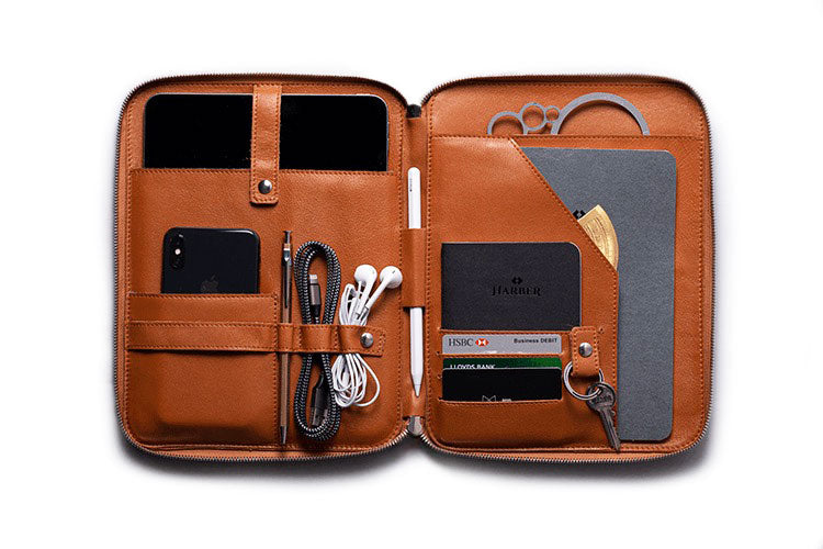 Tan Leather Organiser for iPad Pro 11""