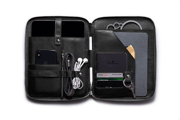 Black Leather Organiser for iPad Pro 11""