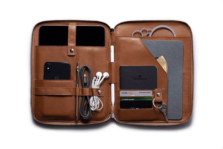 Deep Brown Leather Organiser for iPad Pro 11""