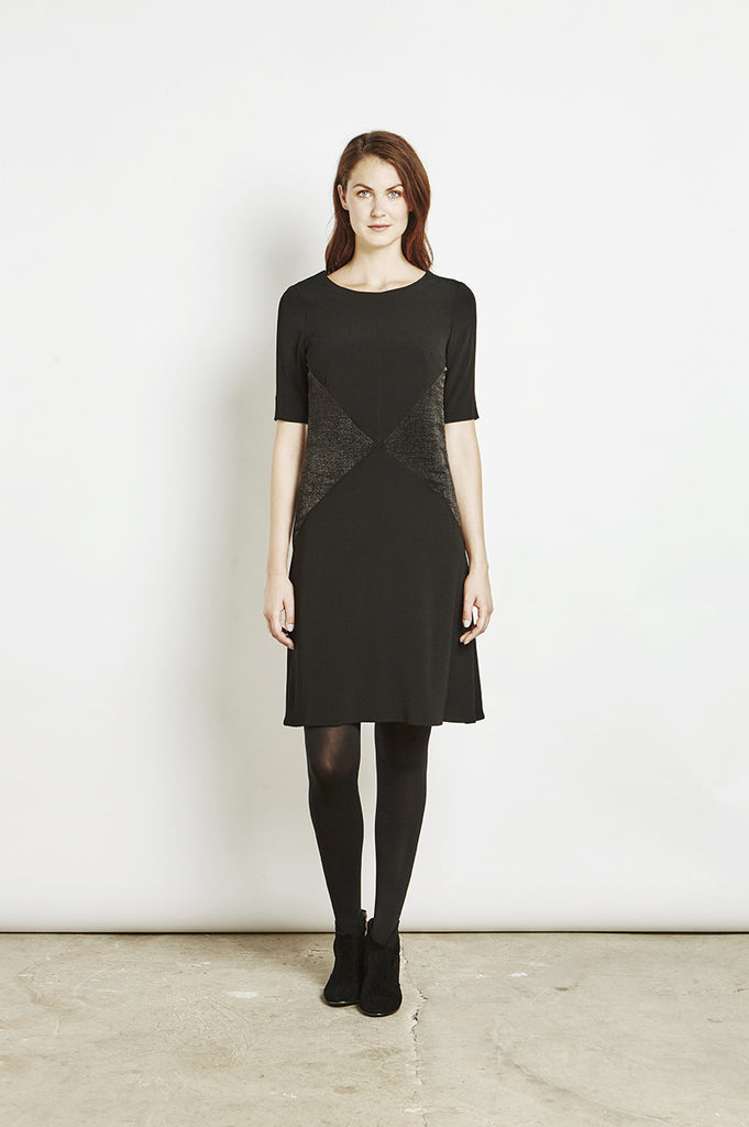 Ada - Swing Dress with Jacquard Contrast