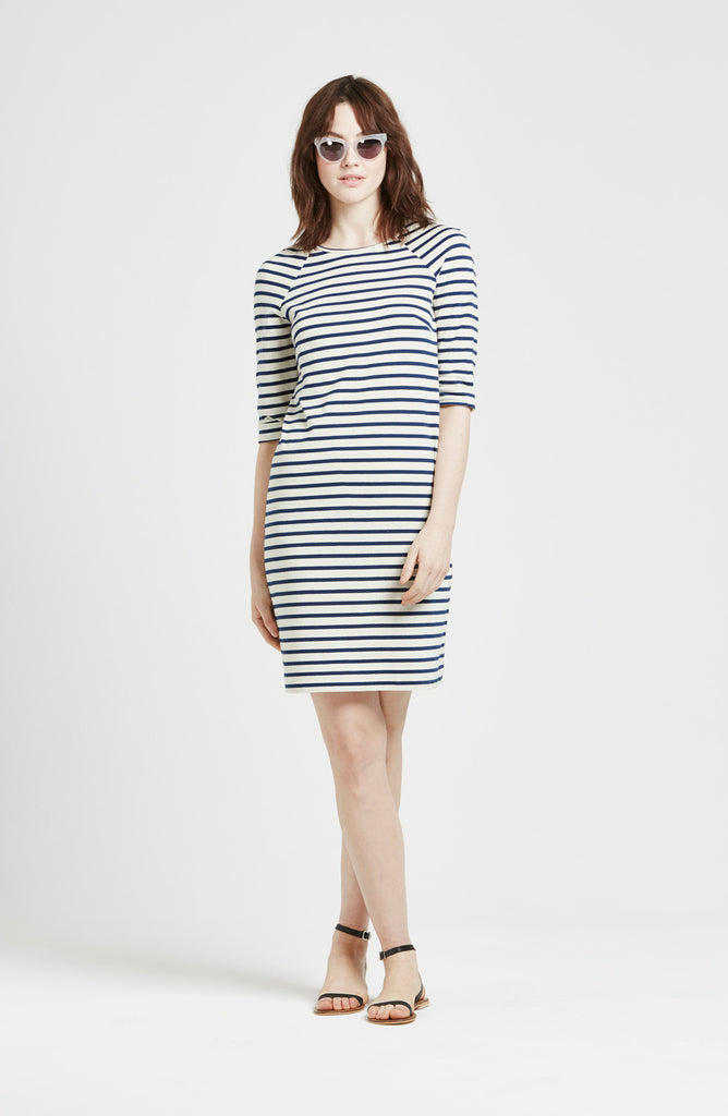 Birgit - Round Neck Dress - Breton Stripes