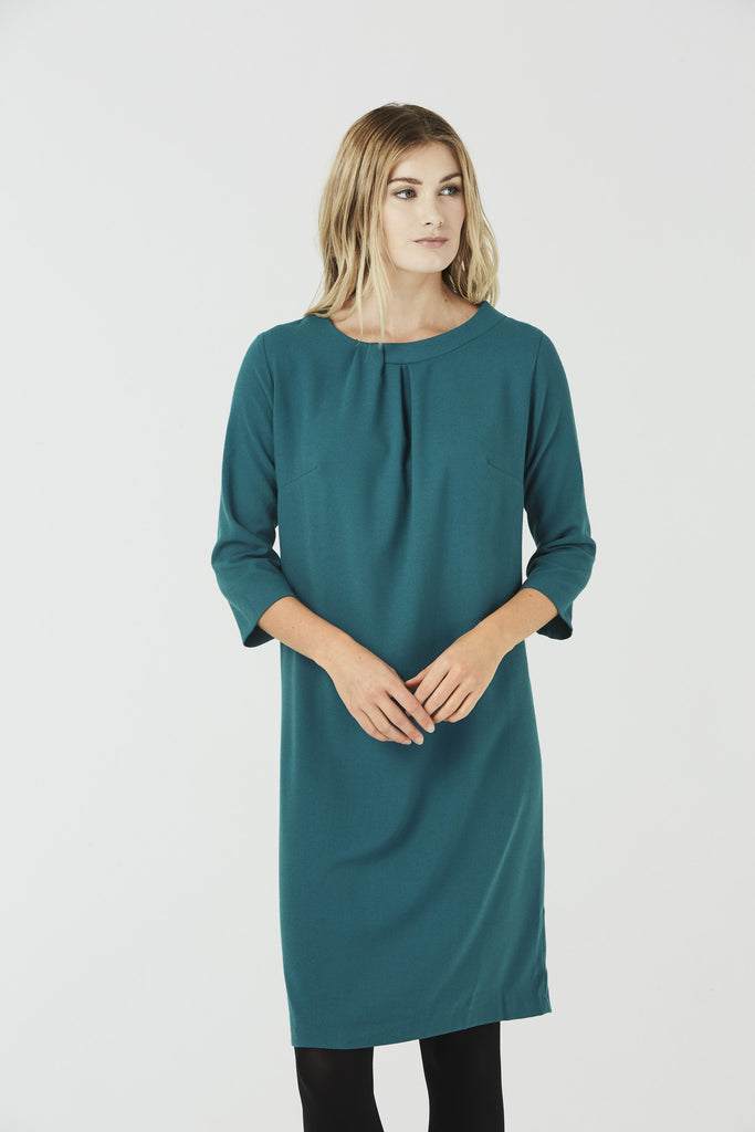 Cerys - Round Neck Dress - Teal