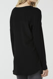 Cara - Long Sleeve Jersey and Silk Top - Black