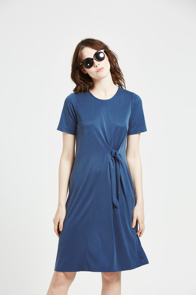 Bliss - Front Tie Dress - Blue