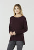 Cara - Long Sleeve Jersey Top - Garnet Red