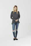 Cara - Long Sleeve Jersey and Silk Top - Grey